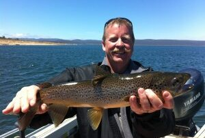 Carey with his brown trout from Great Lake Tasmania