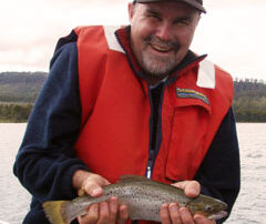 Barry holding a wild brown trout