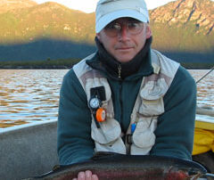 Nick holding a rainbow trout from Lake Burbury